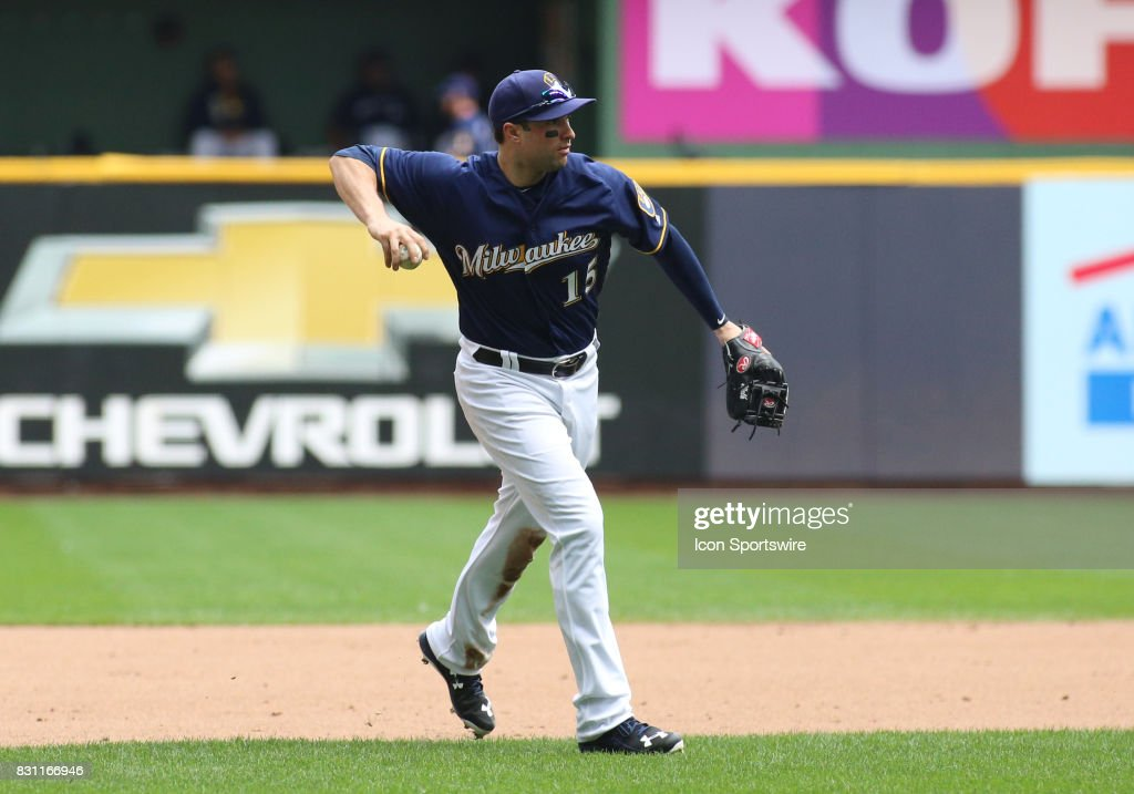 Milwaukee Brewers third baseman Neil Walker (15) throws during a game between the Milwaukee Brewers and the Cincinnati Reds at Miller Park on August 13, 2017 in Milwaukee, WI.