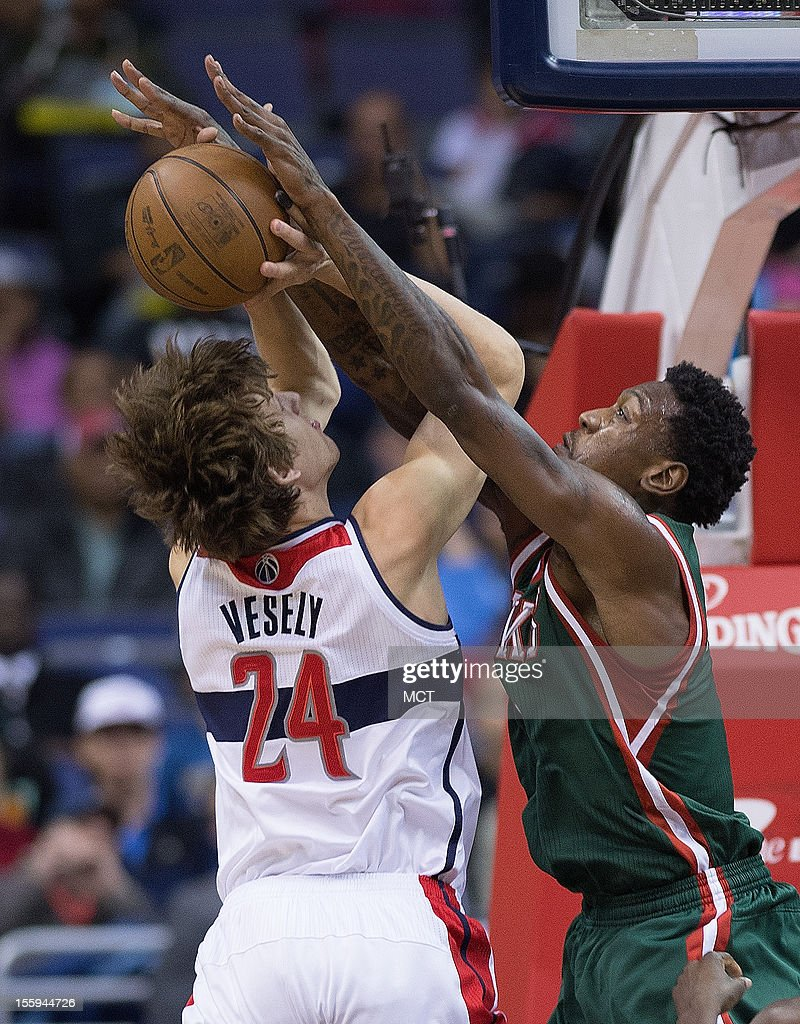 Milwaukee Bucks center Larry Sanders (8) blocks the shot of Washington Wizards small forward Jan Vesely (24) during the first half of their game played at the Verizon Center in Washington, D.C., Friday, November 9, 2012.