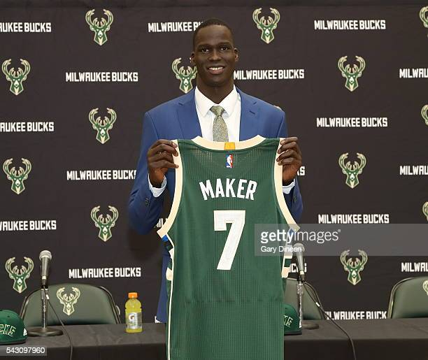 Milwaukee Bucks draft pick Thon Maker participates in a press conference at the Orthopaedic Hospital of Wisconsin Training Center on June 24 2016 in...