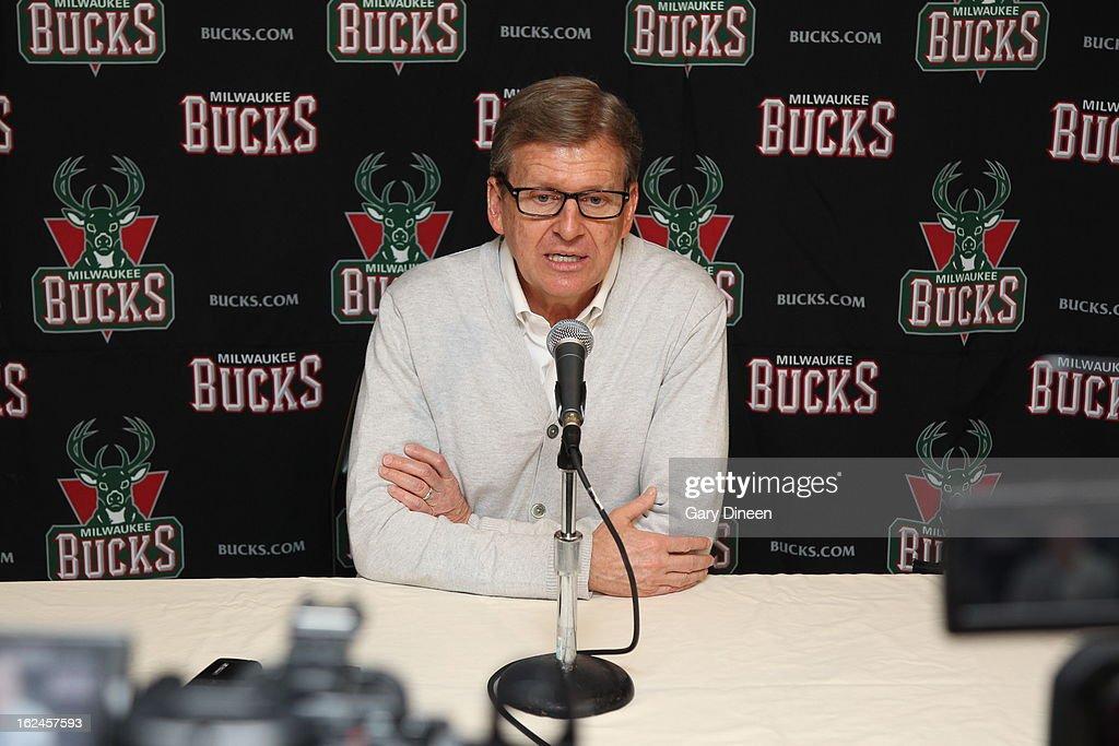 Milwaukee Bucks, General Manager, John Hammond, addresses the media at the Milwaukee Bucks Training Center on February 22, 2013 in St. Francis, Wisconsin.