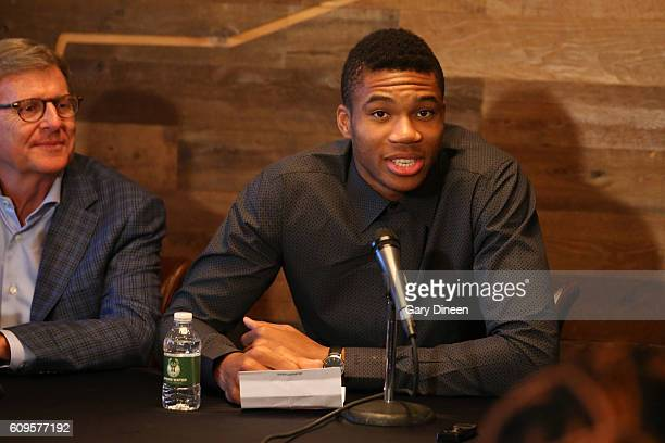 Milwaukee Bucks general manager John Hammond and head coach Jason Kidd join Giannis Antetokounmpo for a press conference announcing Antetokounmpo's...