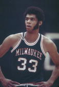 Milwaukee Bucks Kareem AbdulJabbar pauses for a moment on the court