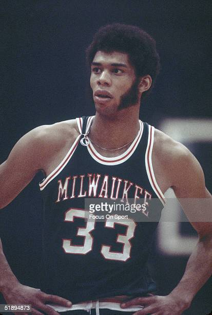 Milwaukee Bucks Kareem AbdulJabbar pauses for a moment on the court