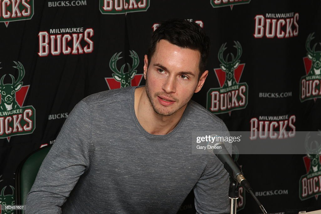 Milwaukee Bucks newly-acquired player, J.J. Redick, addresses the media at the Milwaukee Bucks Training Center on February 22, 2013 in St. Francis, Wisconsin.