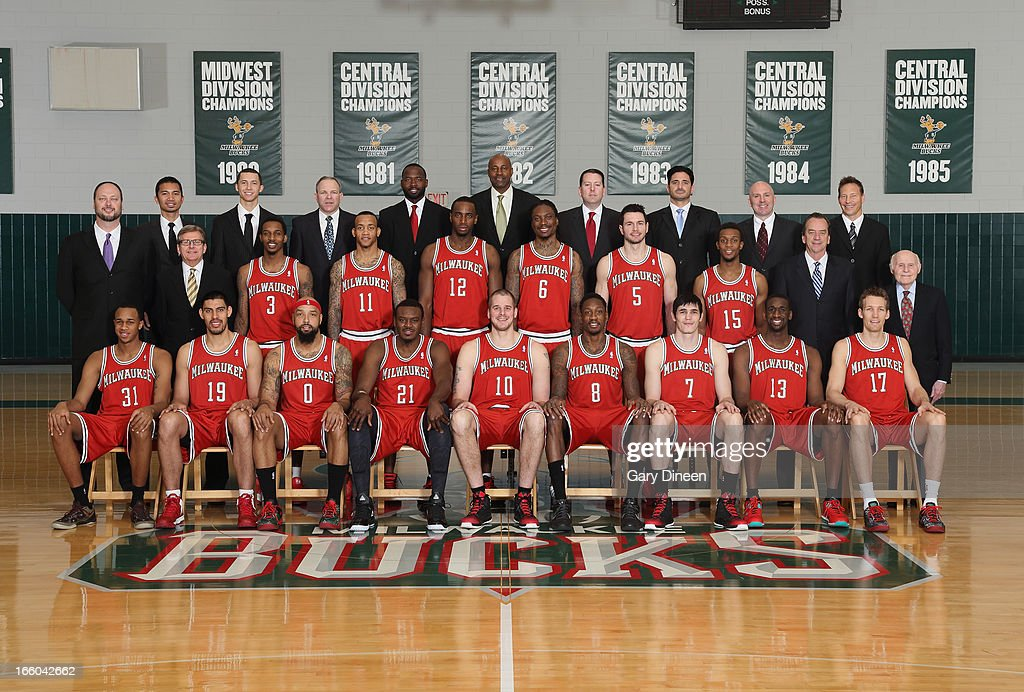 Milwaukee Bucks players and staff pose for a team portrait on April 2, 2013 at the team training center in St. Francis, Wisconsin.