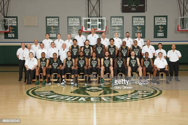 Milwaukee Bucks players coaches and staff pose for the 20162017 team photograph on April 11 2017 at the Milwaukee BucksTraining Center in St Francis...