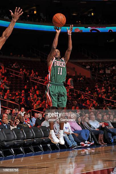 Milwaukee Bucks point guard Earl Boykins goes for a jump shot during the game against the Philadelphia 76ers on January 14 2011 at the Wells Fargo...