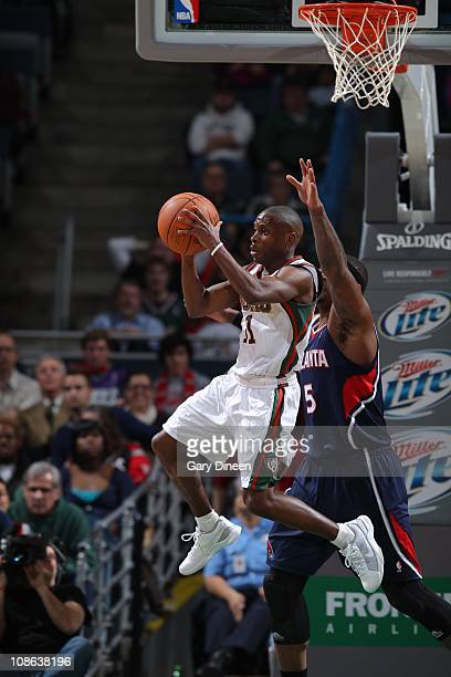 Milwaukee Bucks point guard Earl Boykins goes to the basket during the game against the Atlanta Hawks on January 26 2011 at the Bradley Center in...