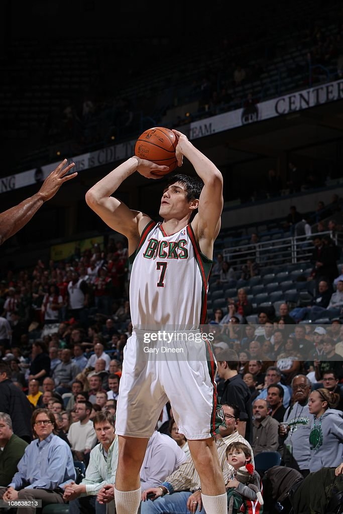 Milwaukee Bucks power forward <a gi-track='captionPersonalityLinkClicked' href=/galleries/search?phrase=Ersan+Ilyasova&family=editorial&specificpeople=557070 ng-click='$event.stopPropagation()'>Ersan Ilyasova</a> #7 aims during the game against the Atlanta Hawks on January 26, 2011 at the Bradley Center in Milwaukee, Wisconsin. The Bucks won 98-90.