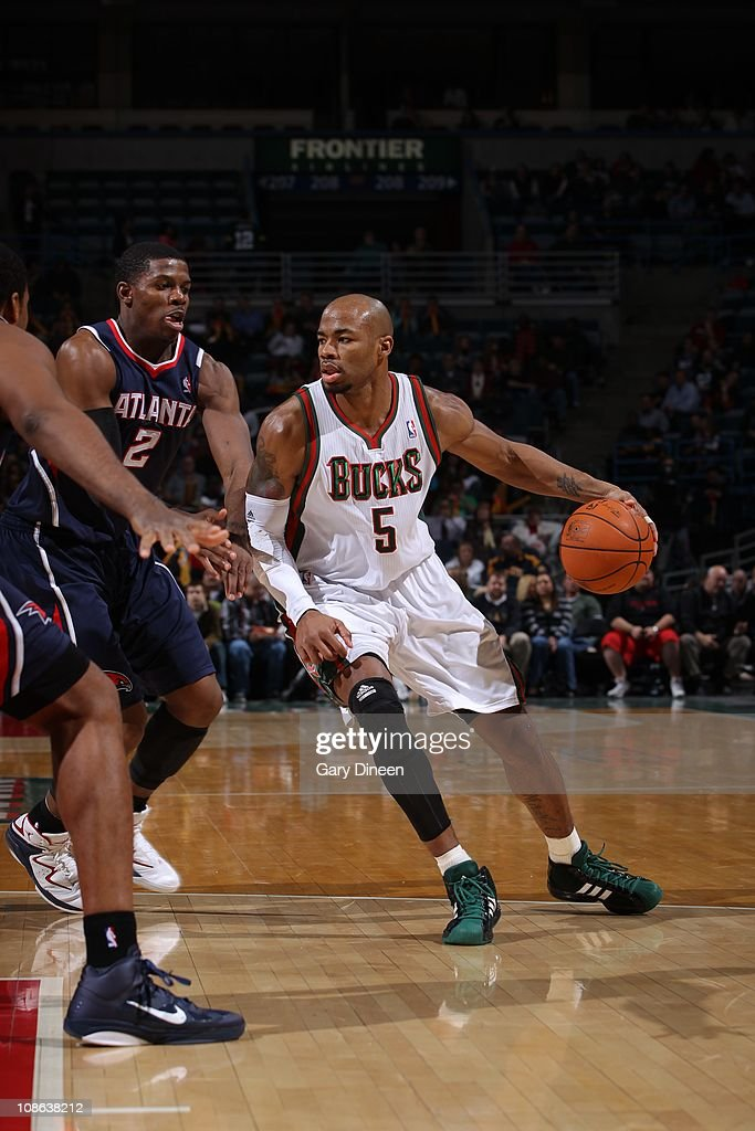 Milwaukee Bucks small forward <a gi-track='captionPersonalityLinkClicked' href=/galleries/search?phrase=Corey+Maggette&family=editorial&specificpeople=201596 ng-click='$event.stopPropagation()'>Corey Maggette</a> #5 protects the ball during the game against the Atlanta Hawks on January 26, 2011 at the Bradley Center in Milwaukee, Wisconsin. The Bucks won 98-90.