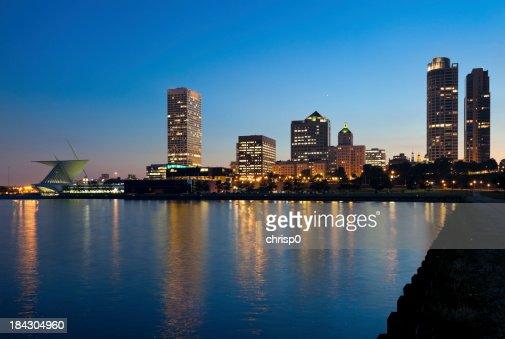 Milwaukee Lakefront and Skyline at Dusk