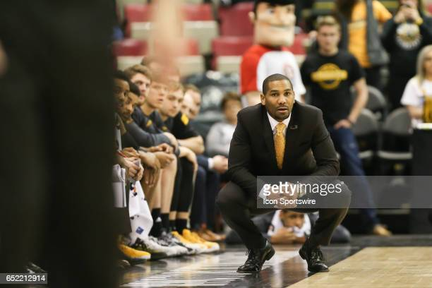 Milwaukee Panthers head coach LaVall Jordan watches the action on the court during the Horizon League championship game between the Milwaukee...