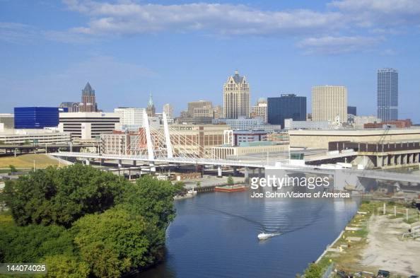 Milwaukee skyline with Menomonee River in foreground WI