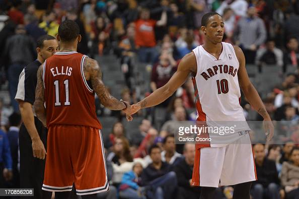Milwaukee's Monta Ellis goes to shake the hand of Toronto's DeMar DeRozan after NBA action as the Toronto Raptors are defeated by the Milwaukee Bucks...