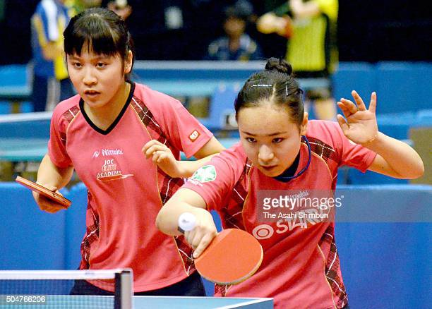 Mima Ito and Miu Hirano compete in the Women's Doubles second round during day two of the All Japan Table Tennis Championships at the Tokyo...