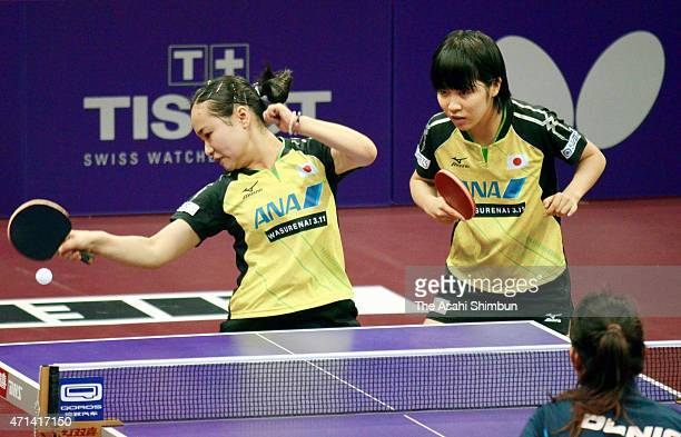 Mima Ito and Miu Hirano of Japan compete in the Women's Doubles First Round match on day three of the 2015 World Table Tennis Championships on April...