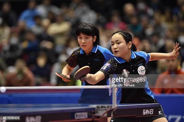 Mima Ito and Miu Hirano of Japan competes in the Women's Doubles during the on day five of All Japan Table Tennis Championships 2015 at Tokyo...