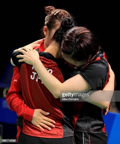 Mima Ito Kasumi Ishikawa and Ai Fukuhara of Japan celebrate winning the Womens Team Bronze Medal match against Singapore on Day 11 of the Rio 2016...