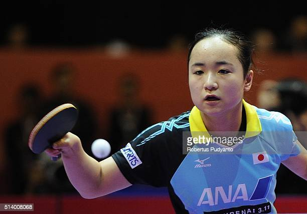 Mima Ito of Japan competes against Ding Ning of China during the 2016 World Table Tennis Championship Women's Team Division final match at Malawati...