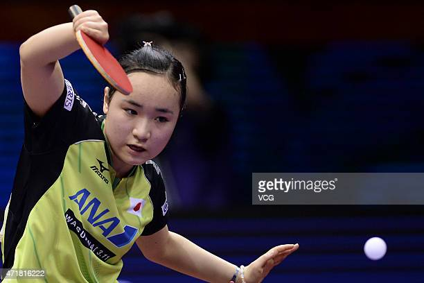 Mima Ito of Japan competes against Li Xiaoxia of China during women's singles quarterfinal match on day six of the 2015 World Table Tennis...