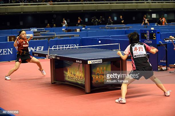 Mima Ito of Japan competes against Miu Hirano of Japan in the Women's Singles semi final during the day four of All Japan Table Tennis Championships...