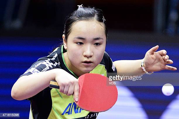 Mima Ito of Japan competes against Tetyana Bilenko of Ukraine during the fourth round of women's singles match on day six of the 2015 World Table...