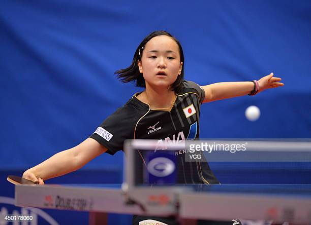 Mima Ito of Japan competes in her Women's Singles first round match against Yang Haeun of South Korea on day three of 2014 ITTF World Tour China Open...