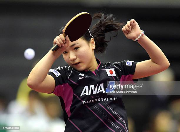Mima Ito of Japan competes in the Women's Singles first round against Liu Fei of China during day three of the ITTF World Tour Super Series Japan...