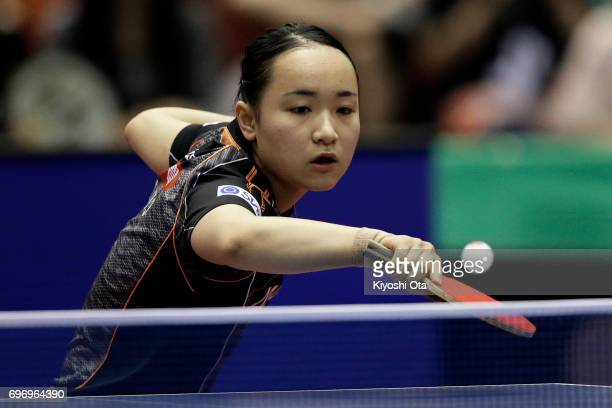 Mima Ito of Japan competes in the Women's Singles quarter final match against Wang Manyu of China during day four of the 2017 ITTF World Tour...