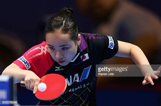 Mima Ito of Japan in action against Jiang Huajun of Hong Kong during day one of the Nakheel Table Tennis Asian Cup 2016 at Dubai World Trade Centre...