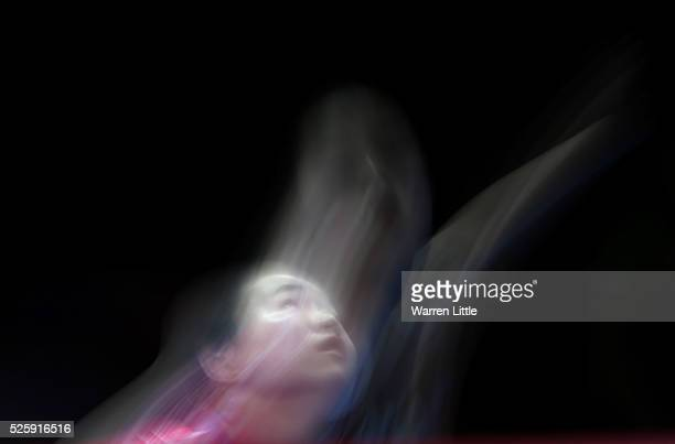 Mima Ito of Japan in action against Liu Shiwen of China during day two of the Nakheel Table Tennis Asian Cup 2016 at Dubai World Trade Centre on...
