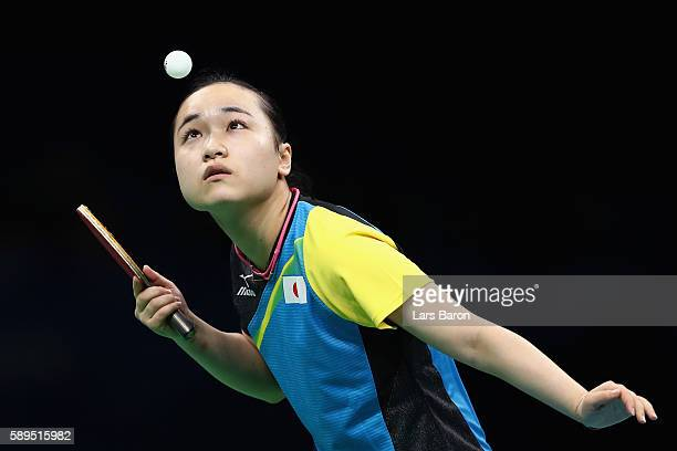 Mima Ito of Japan in action against Petrissa Solja of Germany during the Women's Team Semifinal 2 on Day 9 of the Rio 2016 Olympic Games at Riocentro...
