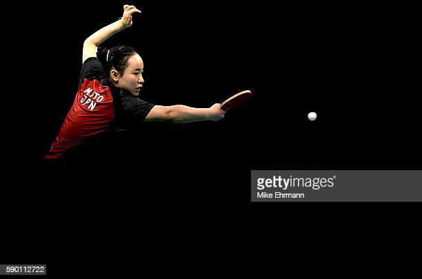 Mima Ito of Japan plays a match against Tianwei Feng of Singapore during the Womens Team Bronze Medal match on Day 11 of the Rio 2016 Olympic Games...