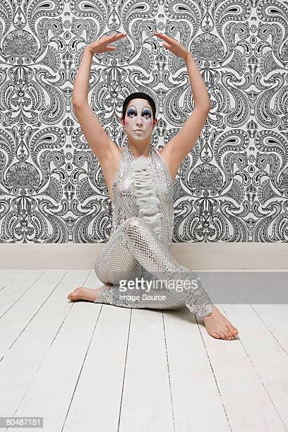 Mime artiste Poser pour une photo