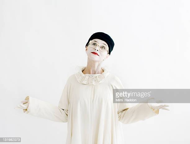 Mime Artist Wearing Glasses Shrugging Shoulders
