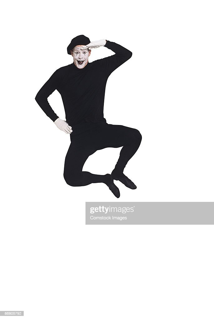 Mime jumping : Stock Photo