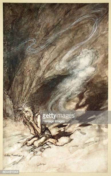Mime writhes under the lashes he receives' 1910 Illustration from The Rhinegold and the Valkyrie Alberich puts on the Tarnhelm and becomes invisible...