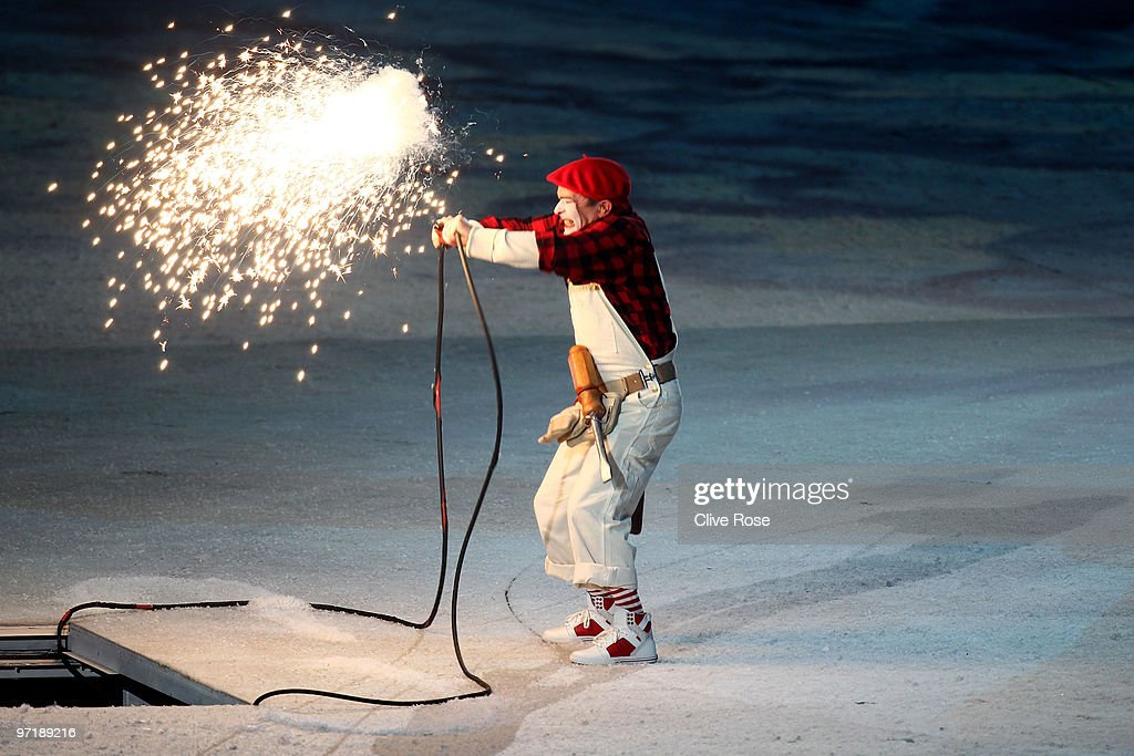 Mime Yves Dagenais performs before the Olympic cauldron is lit during the Closing Ceremony of the Vancouver 2010 Winter Olympics at BC Place on February 28, 2010 in Vancouver, Canada.