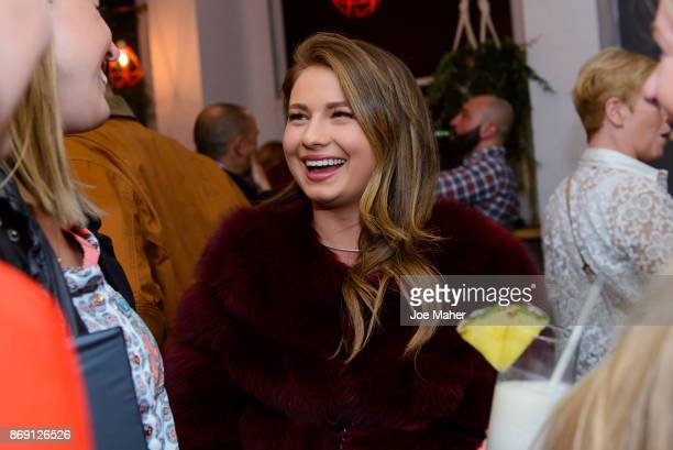 Mimi Bouchard attends the launch party of Air Canada Poutinerie popup to showcase #CoolNotCold destinations on November 1 2017 in London England