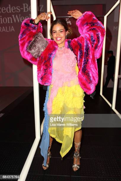 Mimi Elashiry poses during the StrateasCarlucci show at MercedesBenz Fashion Week Resort 18 Collections at Carriageworks on May 18 2017 in Sydney...