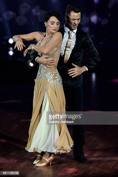 Mimi Fiedler and Bernhard Bettermann do the Wiener Walzer attending the 4th live show of the television competition 'Stepping Out' on October 2 2015...