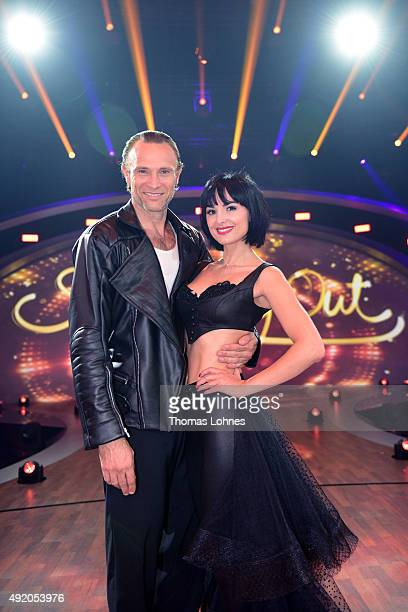 Mimi Fiedler and Bernhard Bettermann pose after the fith show of the television competition 'Stepping Out' on October 9 2015 in Cologne Germany