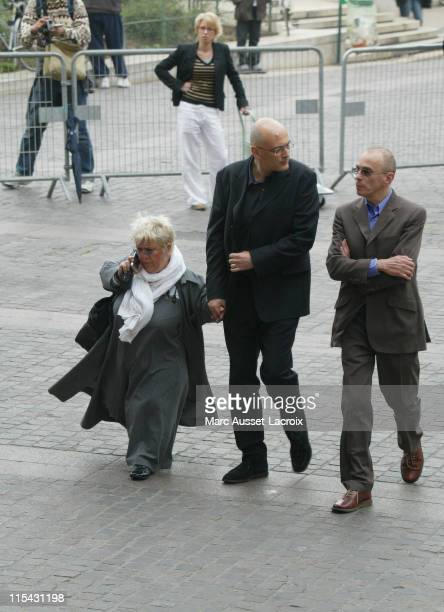 Mimi Mathy and her husband arrives to the funeral service of French actor JeanPierre Cassel at SaintEustache church in Paris France