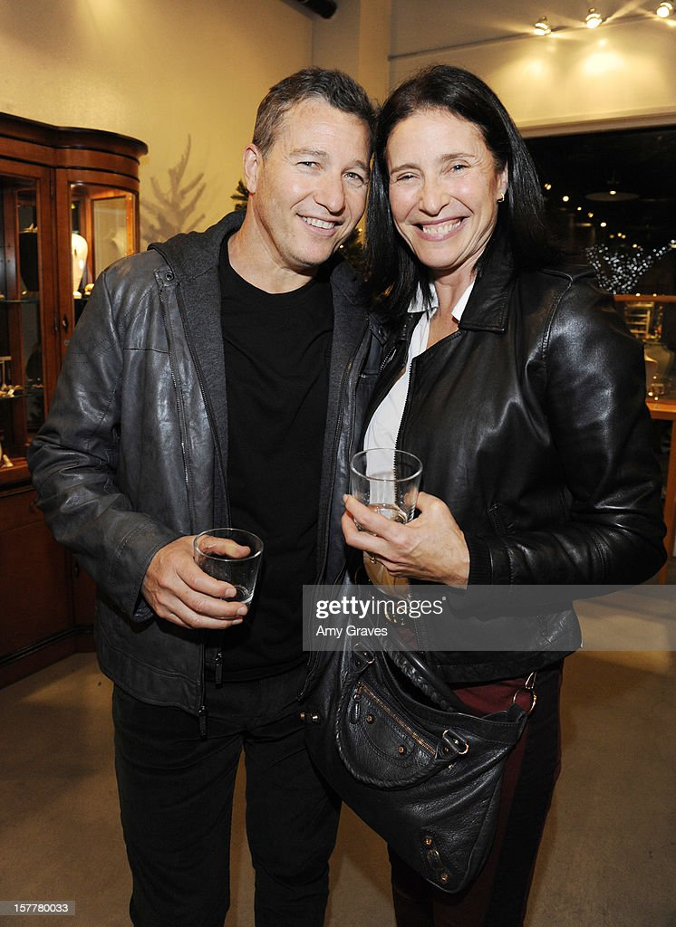 Mimi Rogers (R) and her brother Paul Abbott attend Beth Yorn's Jewelry Show at Roseark on December 5, 2012 in West Hollywood, California.