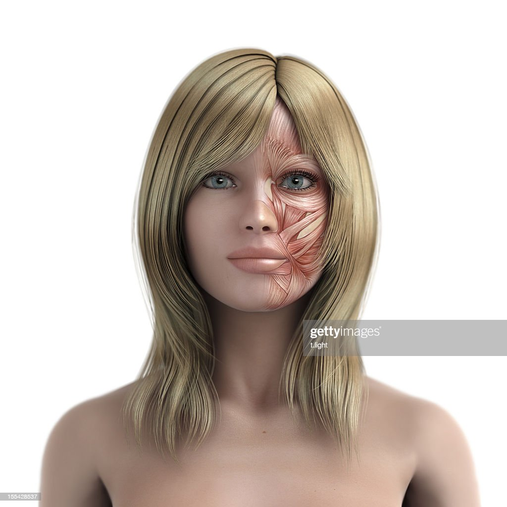 Mimic muscle of blond womens face
