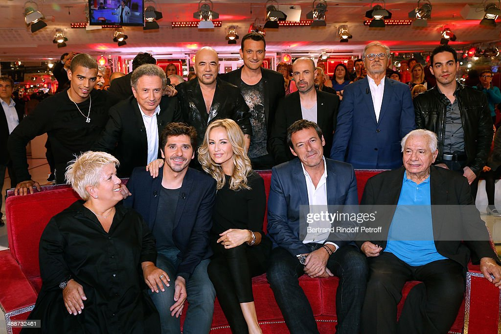 Mimie Mathy, Patrick Fiori, Adriana Karembeu, Jean-Luc Reichmann, Michel Galabru, (Back L-R) Brahim Zaibat, Michel Drucker, Pascal Obispo, Christophe Mondoloni, Jean-Charles Papi, Josip Skoblar and Tomi attend the 'Vivement Dimanche' French TV Show, held at Pavillon Gabriel on May 14, 2014 in Paris, France.