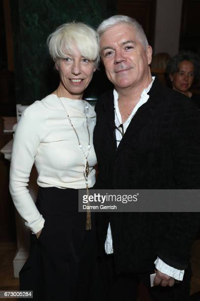 Mimma Viglezio and Tim Blanks attend Roland Mouret's The Dinner of Love at Cecconi's a preopening dinner at The Ned on April 25 2017 in London England