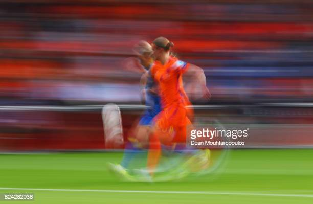 Mimmi Larsson of Sweden takes on Mandy van den Berg of the Netherlands during the UEFA Women's Euro 2017 Quarter Final match between Netherlands and...