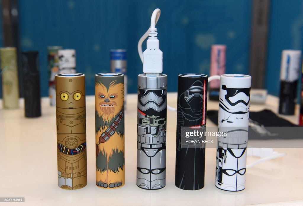 Mimoco's Star Wars: The Force Awakens USB backup battery tubes are displayed on the first day of CES 2016 Consumer Electronics Show on January 6, 2016 in Las Vegas, Nevada. The 90mm (3.5 inches) tall backup power is a single cell rechargeable backup battery that provides power to smartphones and other 5V mobile devices. The Force Awaken power tubes will be for sale in early 2016 for between USD $20-30 and can be ordered online.