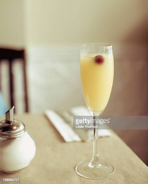 Mimosa cocktail on table